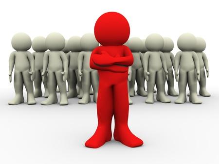 follow the leader: 3D render van rode man die uit de menigte. 3D-afbeelding van leiderschap concept