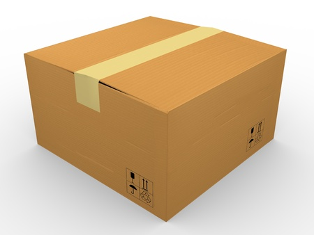 3d render of cardboard box on white background photo