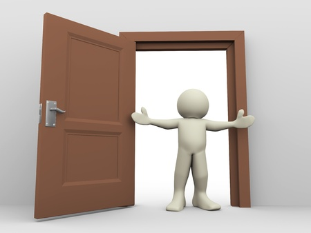 man standing alone: 3d render of man in front of open door  3d illustration of human character