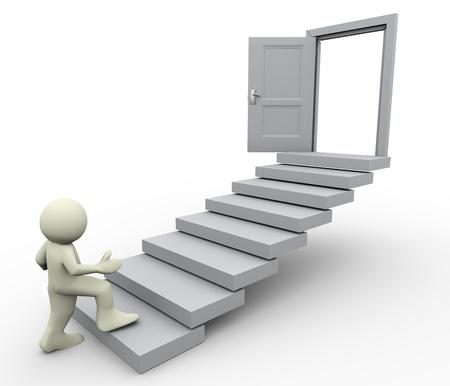 first step: 3D-Darstellung von Mann Klettern auf Treppen-Konzept der erste Schritt zur Karriere Wachstum Lizenzfreie Bilder