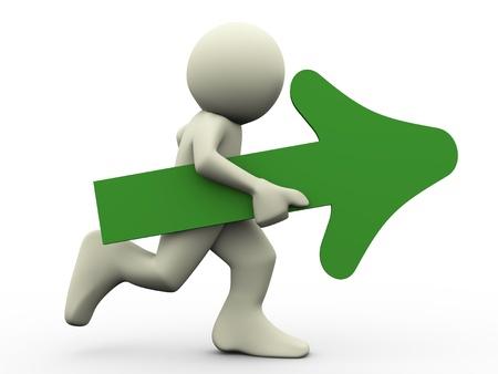 plan de accion: 3d de correr hombre con la flecha verde en la ilustración de la mano del carácter humano 3d Foto de archivo