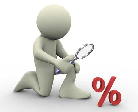 percentages: 3d render of man with magnifying glass looking at percent sign  3d illustration of human character  Stock Photo