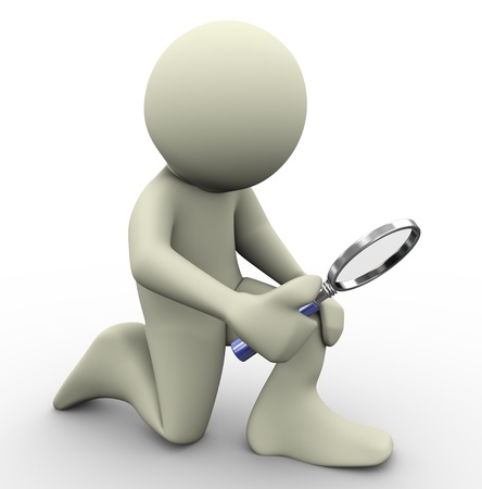 quest: 3d render of man with magnifying glass  3d illustration of human character