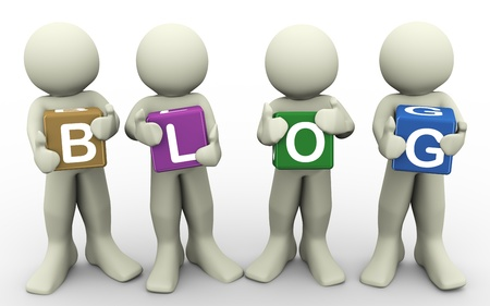 3d render of men holding word  blog   3d illustration of human character Stock Illustration - 12995419