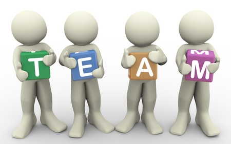 team working together: 3d render of men holding word  team   3d illustration of human character