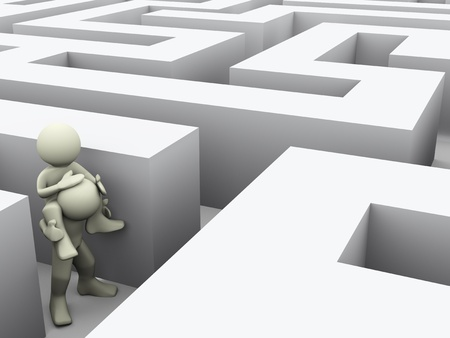 3d render of men finding path through maze  3d illustration of human character illustration