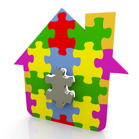 3d render of house made of puzzle peaces photo
