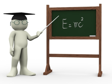 tutoring: 3d render of teacher and black board with  written einsteins theory  Human character 3d illustration Stock Photo