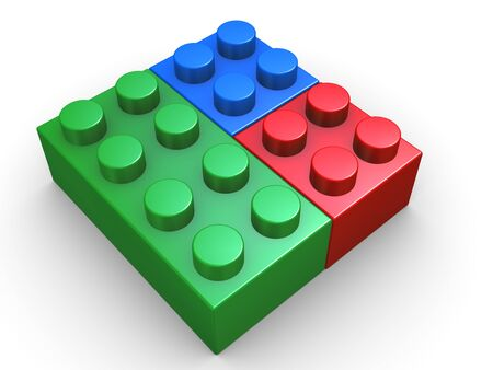 polygraphic: 3d render of child s toy blocks presenting rgb - red, green and blue colors