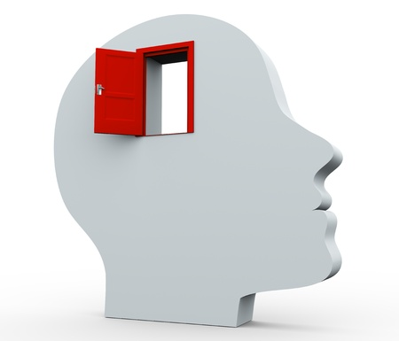 3d render of human head with open door photo