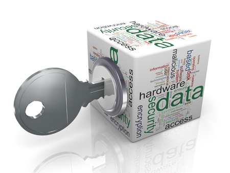 3d render of data protection wordcloud cube with key  Concept of securing and protecting sensitive data Stock Photo - 13186099