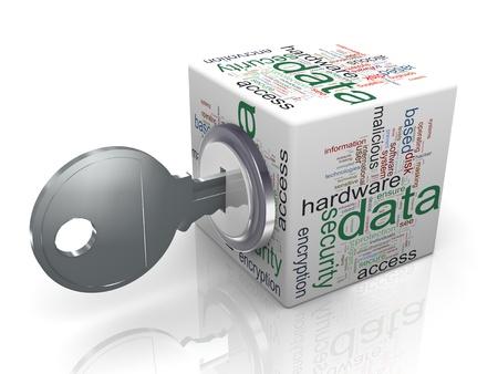 Rendu 3D de la protection des données wordcloud cube avec Concept clé de la sécurisation et la protection des données sensibles