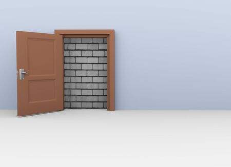 unavailability: 3d render of door to nowhere  No way out for escape