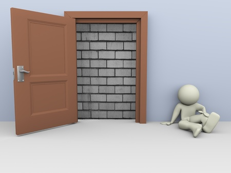 unavailability: 3d render of frustrated man with blocked door  Concept no way out for escape  Stock Photo