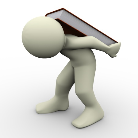 difficulties: 3d render of man carrying book on his back  Concept of learning difficulties