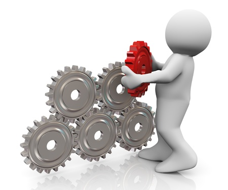 3d render of man placing final red gear to complete gear pyramid  3d illustration of human character illustration