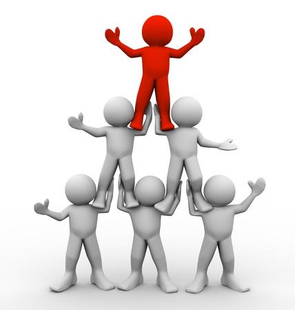 piramide humana: 3d de la pirámide de la gente Concepto del trabajo en equipo y liderazgo