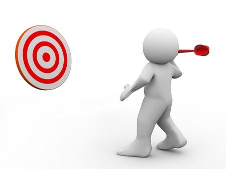 dart on target: 3d render of man throwing dart on target  3d illustration of human character