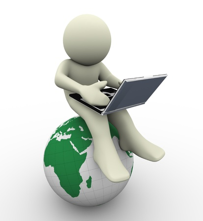 3d render of man with laptop sitting on globe  3d illustration of human character illustration