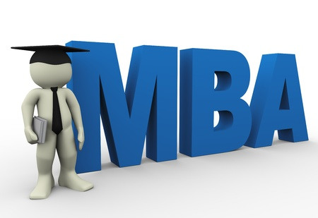 master degree: 3d render of man with word mba  3d illustration of human character
