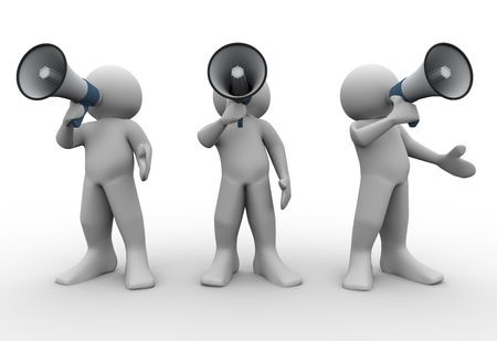 3d render of people with megaphones  3d illustration of human characters Stock Illustration - 13186088