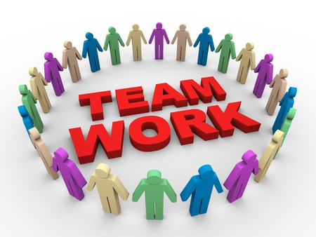 the national team: 3d illustration of people around word team work Stock Photo