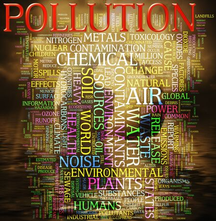 Illustration of wordcloud related to word pollution  illustration