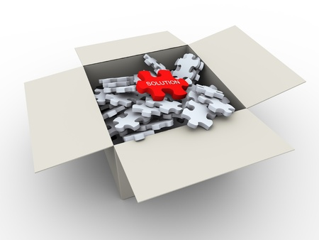 match box: 3d render of puzzle peaces box with unique red solution peace on top Stock Photo