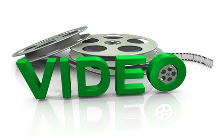 chronicle: 3d render of film reel with text  Video