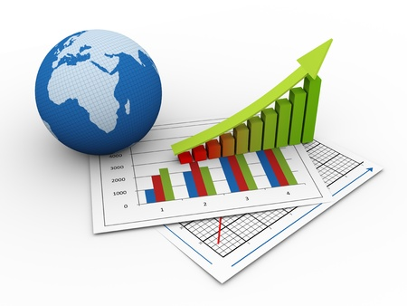 global economy: 3d render of globe and progress bars on financial paper  concept of global financial growth