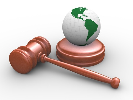3d render of lawyer gavel, hammer and globe Stock Photo - 13278530