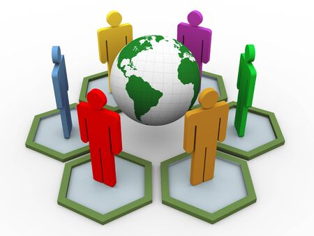 international trade: 3d render of people around globe  concept of global communication