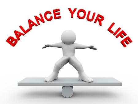 balanza en equilibrio: 3d del hombre en la escala con el texto de equilibrar su vida