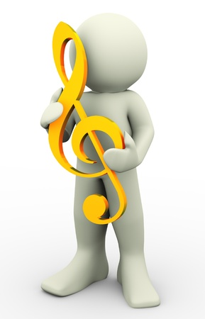music figure: 3d man holding music score clef on his hand