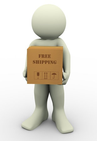 purchase order: 3d render of man holding free shipment carton parcel