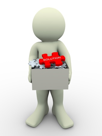 jig saw puzzle: 3d render of man holding puzzles box having big red solution puzzle peace. 3d illustration of human character.
