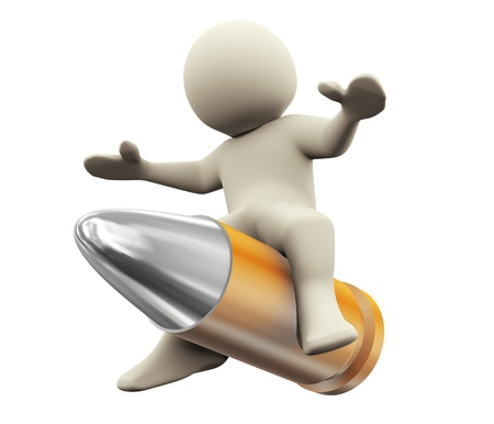 lethal: 3d render of man riding on bullet. 3d illustration of human character
