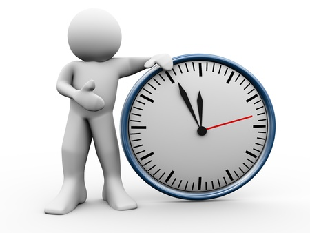 illustraton: 3d render of man standing with clock. 3d illustraton of human character