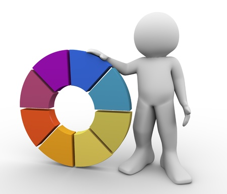 3d render of man with color wheel. 3d illustration of human character. illustration