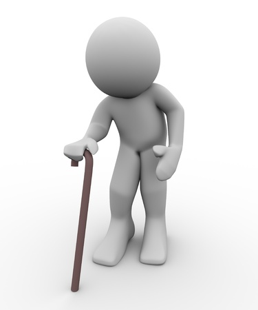 pensioner: 3d render of old man with walking stick. 3d illustration of human character