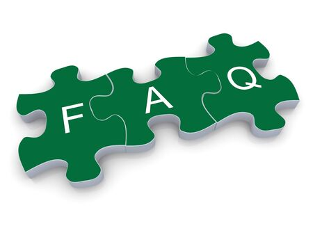 3d render of faq (frequently asked questions) puzzle peace Stock Photo - 13278499