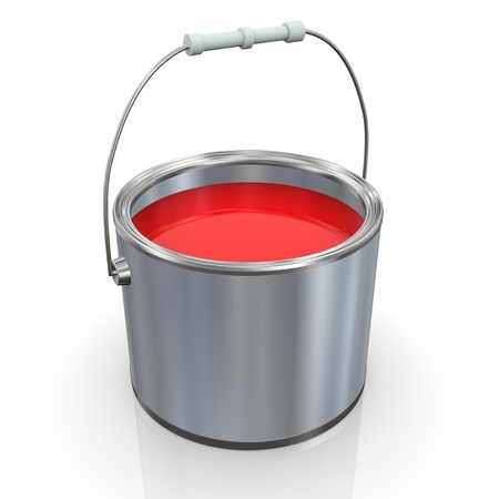 distemper: 3d render of red color paint bucket Stock Photo