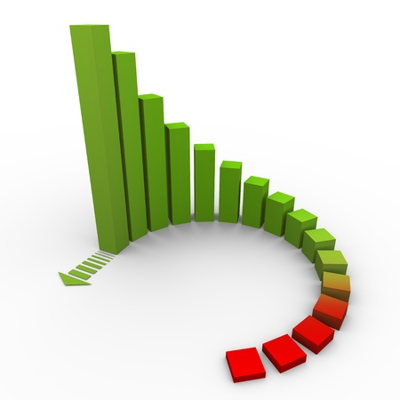 company growth: 3d render of circular growing bars with increasing arrow
