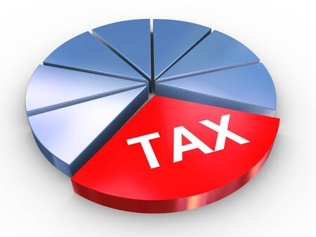 taxation: 3d render of reflective tax pie chart