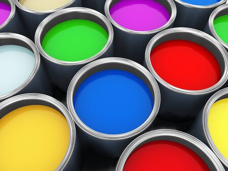 3d render of various color paint buckets. photo