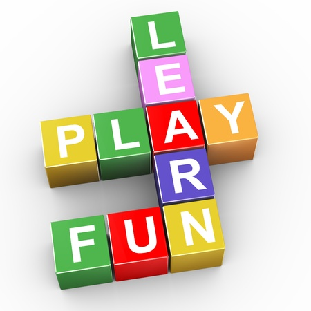 3d render of crossword of learn, play and fun photo
