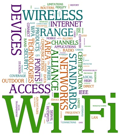 wireless technology: Illustration of wordcloud related to word wi-fi.