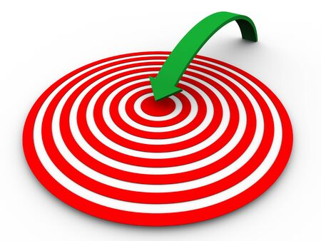concentric circles: 3d render of arrow jumping on target  Concept of success and goal achievement  Stock Photo