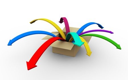 distribute: 3d render of colorful arrows jumping outside from box  Stock Photo
