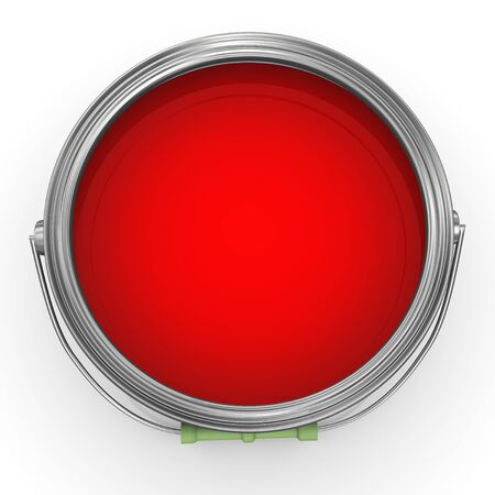 opened: 3d render of red color paint bucket Stock Photo